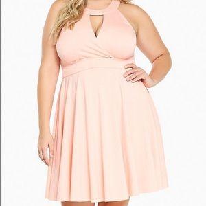 Torrid halter neck skater dress pink/salmon size 4